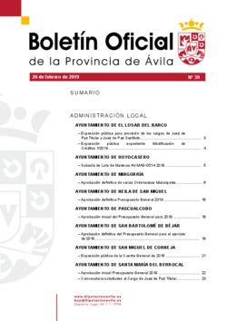 Boletín Oficial de la Provincia del martes, 26 de febrero de 2019