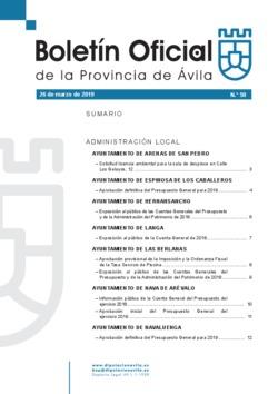Boletín Oficial de la Provincia del martes, 26 de marzo de 2019