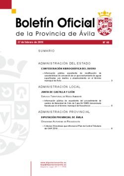 Boletín Oficial de la Provincia del miércoles, 27 de febrero de 2019