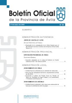 Boletín Oficial de la Provincia del miércoles, 27 de marzo de 2019
