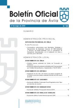 Boletín Oficial de la Provincia del lunes, 27 de mayo de 2019