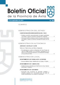 Boletín Oficial de la Provincia del viernes, 27 de septiembre de 2019