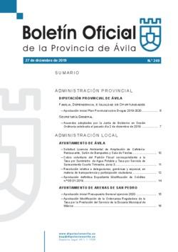 Boletín Oficial de la Provincia del viernes, 27 de diciembre de 2019