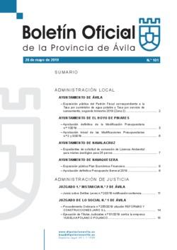 Boletín Oficial de la Provincia del martes, 28 de mayo de 2019