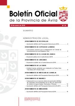 Boletín Oficial de la Provincia del martes, 29 de enero de 2019