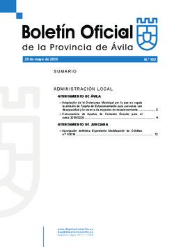 Boletín Oficial de la Provincia del miércoles, 29 de mayo de 2019