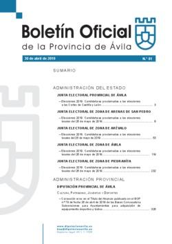 Boletín Oficial de la Provincia del martes, 30 de abril de 2019
