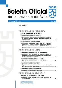 Boletín Oficial de la Provincia del jueves, 30 de mayo de 2019