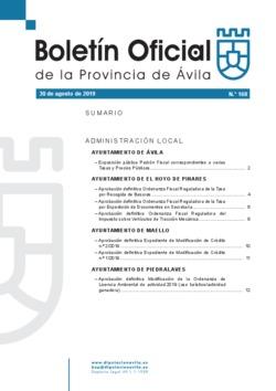 Boletín Oficial de la Provincia del viernes, 30 de agosto de 2019