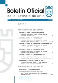 Boletín Oficial de la Provincia del martes, 1 de octubre de 2019
