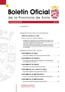 Boletín Oficial de la Provincia del jueves, 31 de enero de 2019