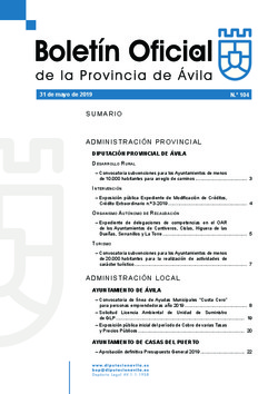 Boletín Oficial de la Provincia del viernes, 31 de mayo de 2019