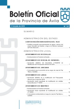 Boletín Oficial de la Provincia del miércoles, 31 de julio de 2019