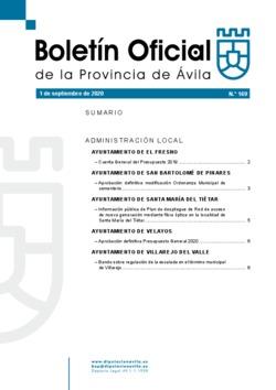 Boletín Oficial de la Provincia del martes, 1 de septiembre de 2020