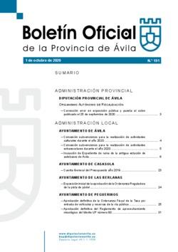 Boletín Oficial de la Provincia del jueves, 1 de octubre de 2020
