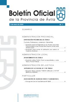 Boletín Oficial de la Provincia del jueves, 2 de enero de 2020
