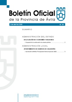 Boletín Oficial de la Provincia del jueves, 2 de abril de 2020