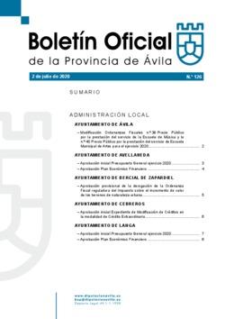 Boletín Oficial de la Provincia del jueves, 2 de julio de 2020