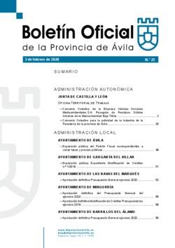 Boletín Oficial de la Provincia del lunes, 3 de febrero de 2020