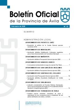 Boletín Oficial de la Provincia del martes, 3 de marzo de 2020