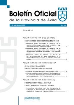 Boletín Oficial de la Provincia del lunes, 3 de agosto de 2020