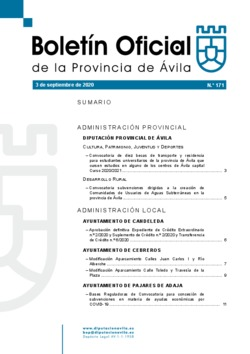 Boletín Oficial de la Provincia del jueves, 3 de septiembre de 2020