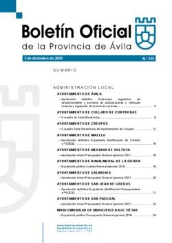 Boletín Oficial de la Provincia del jueves, 3 de diciembre de 2020