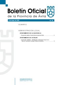 Boletín Oficial de la Provincia del lunes, 4 de mayo de 2020