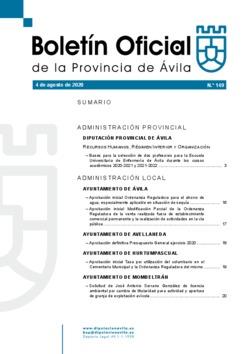 Boletín Oficial de la Provincia del martes, 4 de agosto de 2020