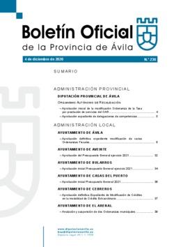 Boletín Oficial de la Provincia del viernes, 4 de diciembre de 2020
