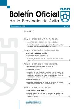 Boletín Oficial de la Provincia del jueves, 5 de marzo de 2020