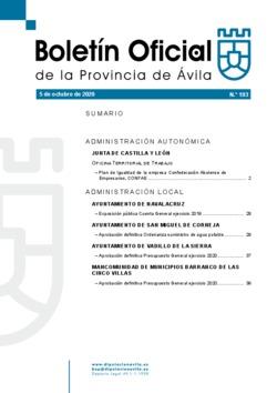 Boletín Oficial de la Provincia del lunes, 5 de octubre de 2020