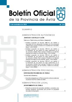 Boletín Oficial de la Provincia del jueves, 5 de noviembre de 2020