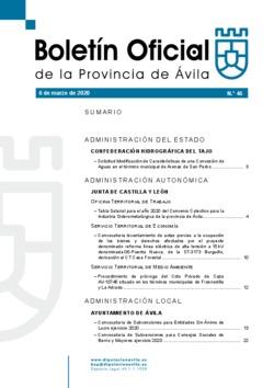 Boletín Oficial de la Provincia del viernes, 6 de marzo de 2020