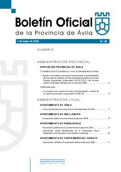 Boletín Oficial de la Provincia del jueves, 7 de mayo de 2020