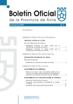 Boletín Oficial de la Provincia del miércoles, 8 de enero de 2020