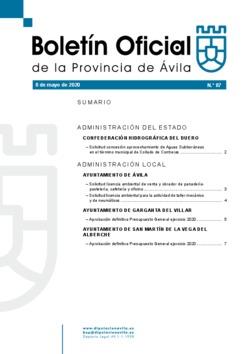 Boletín Oficial de la Provincia del viernes, 8 de mayo de 2020