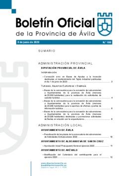 Boletín Oficial de la Provincia del lunes, 8 de junio de 2020