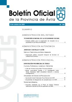 Boletín Oficial de la Provincia del jueves, 8 de octubre de 2020