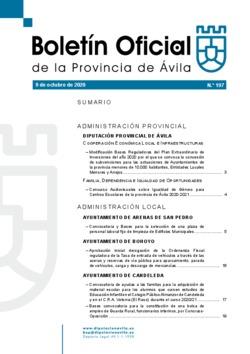 Boletín Oficial de la Provincia del viernes, 9 de octubre de 2020