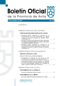 Boletín Oficial de la Provincia del lunes, 9 de noviembre de 2020