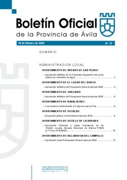 Boletín Oficial de la Provincia del lunes, 10 de febrero de 2020