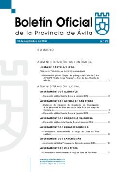 Boletín Oficial de la Provincia del jueves, 10 de septiembre de 2020