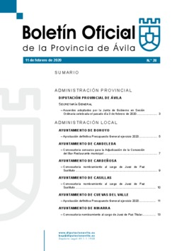 Boletín Oficial de la Provincia del martes, 11 de febrero de 2020