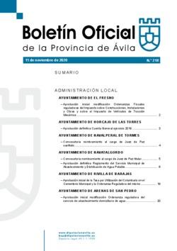 Boletín Oficial de la Provincia del miércoles, 11 de noviembre de 2020