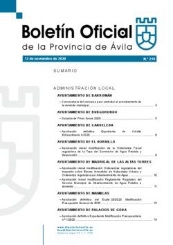 Boletín Oficial de la Provincia del jueves, 12 de noviembre de 2020