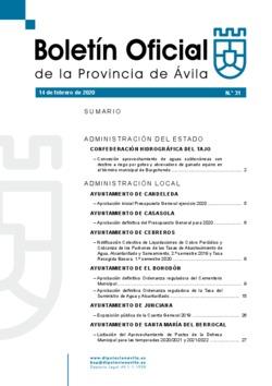 Boletín Oficial de la Provincia del jueves, 13 de febrero de 2020
