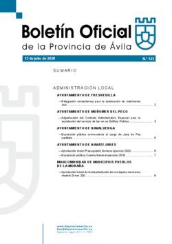 Boletín Oficial de la Provincia del lunes, 13 de julio de 2020