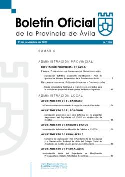 Boletín Oficial de la Provincia del viernes, 13 de noviembre de 2020