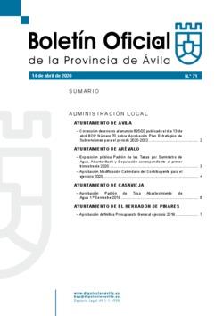Boletín Oficial de la Provincia del martes, 14 de abril de 2020